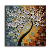 YaSheng Art - hand-painted Oil Painting On Canvas white Flowers Paintings Modern Home Interior Decor Abstract Art picture Ready to hang 60cm x 60cm