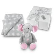 Baby Girl Blanket and Stuffed Elephant Gift Set - Grey Circle Coral Fleece Blanket with Plush Stuffed Pink and Grey Elephant GIFT WRAPPED