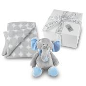 Baby Boy Blanket and Stuffed Elephant Gift Set - Grey Circle Coral Fleece Blanket with Plush Stuffed Blue and Grey Elephant GIFT WRAPPED