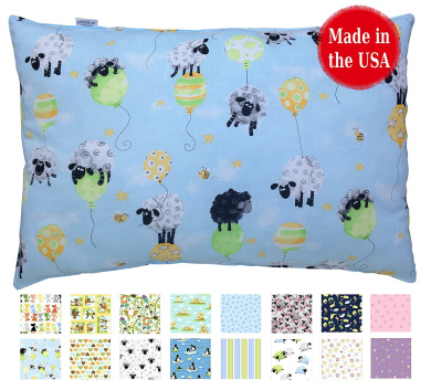 Printed TODDLER PILLOW (13x18) - No Pillowcase Needed - Hypoallergenic - Machine Washable - Double Stitched - Made in Virginia - Sold ONLY by A Little Pillow Company (Balloon Sheep)