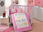 Zoo - Baby Deluxe Duvet Cover Set - 100% Cotton - 4 pieces (Pink) - Made in Turkey
