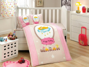 BamBam - Baby Deluxe Duvet Cover Set - 100% Cotton - 4 pieces (Pink) - Made in Turkey