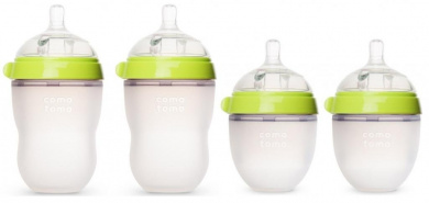 Comotomo 150ml and 240ml Baby Bottles, 4 Pack (Green)