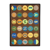 Joy Carpets Kid Essentials Early Childhood Alpha-Dots Rug, Earthtone, 2.1m x 3m