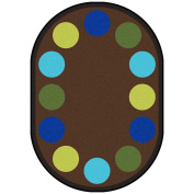 Joy Carpets Kid Essentials Early Childhood Oval Lots of Dots Rug, Earthtone, 2.1m x 3m