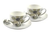Churchill China Sanderson Etchings & Roses, Milan Coffee Cup & Saucer Set of 2, Giftboxed