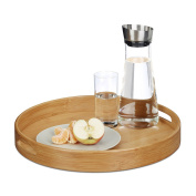 Relaxdays Round Bamboo Serving Tray, Raised Edge, Food Tray, Cut-Out Handles, Size