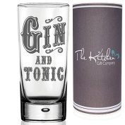GIN GLASS - Gin & Tonic HighBall Glass & Gift Tube Set - A Funny Novelty G & T Gift For Any Gin Lover