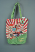 Red Beauty Tips Retro Glamour Bag with Lady - Lined with Inner Zip Shopping Fabric Bag