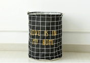 TRASH CAN Home daily admission and large opening cotton linen stained clothing and waterproof barrels , admit black