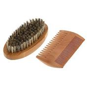 ROSENICE Wooden beard Comb Beard Brush Moustache Comb Bristle Brush and Set for Men