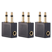 eBoot Golden Plated Aeroplane Airline Flight Adapters for Headphones, 3 Pack