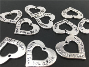 """Yansanido Pack of 10 Alloy Silver """"until I see you again"""" Heart shape DIY Antique Message Charms Pendant for Making Bracelet and Necklace"""