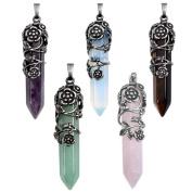 Top Plaza Antique Silver Flower Wrapped Natural Quartz Gemstone Healing Crystal Necklace 5pcs/Set