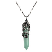 Top Plaza Antique Silver Flower Wrapped Natural Green Aventurine Healing Crystal Necklace