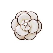 MISASHA Classic Elegant White Camellia Enamel Brooch pin