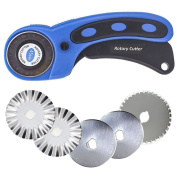 45mm Rotary Cutter Set for Sewing Fabric Leather Quilting Tools with 5 Replacement Pinking Rotary Blades