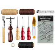 Caydo 12 Pieces Leather Tools Leather Sewing Kit Craft Stitching Tools Awl Thimble Waxed Thread