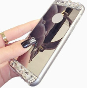 iPhone SE Case, Black Lemon Beauty Luxury Diamond Glitter Soft Silicone Bling Shiny Sparkling with Makeup Mirror Back Phone Case for Apple iPhone 5 5s SE