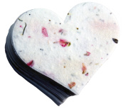 OF THE EARTH Seed Embedded Larkspur Handmade Paper Tags, Heart Shape, Large, Pink