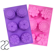 JUSLIN 2 PCS 6-Cavity Assorted Flower Shape Silicone DIY Soap Mould Chocolate Biscuit Cake Muffine Silicone Mould, with 2 S Hooks as Gift