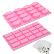 Tomnk 20 Cavity Rectangle and 16 Cavity Oval Shaped Silicone Handmade Silicone Cake Soap Mould with 100 Sealed Bags of Decorative Design