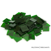 Milltown Merchants™ Green 2.2cm Stained Glass Squares 0.5kg - Transparent Stained Glass Cobbles - Broken Glass Square Chips for Stepping Stones and Crafts - Bright Colour Glass Coblets