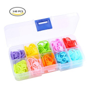 Heirtronic 140 Pieces Assorted Colour Crochet Locking Stitch Markers Knitting Stitch Counter Needle Clip with Storage Case,10 Colours