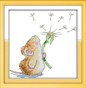 """eGoodn Stamped Cross Stitch Starter Kits Beginners Cross-Stitching Accurate Pre-printed Pattern - Little Mouse and Dandelion 11CT 12""""X12"""", Frameless"""