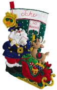 Bucilla 46cm Christmas Stocking Felt Appliqué Kit, 86711 Officer Santa