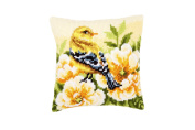 Vervaco Goldfinch on Peonies Pillow Cover Needlepoint Kit