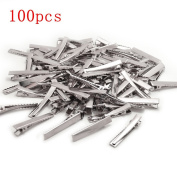 BronaGrand 100 PCS Silver Alligator Hair Clip Flat Top with Teeth for Arts & Crafts Projects, Dry Hanging Clothing, Office Paper Document Organisation,Hair Care