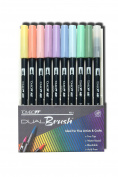 Tombow Dual Brush Pen Set, 9 Pastel Colours Plus Brush Pen, 10 Piece Set