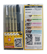Sakura Pigma Micron pen, Archival pigment ink drawing pens - 6 pieces Manga Basic Set supplies for artist