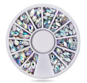 Zealer Round Eye Shape Rectangle Women Ladies 3D Acrylic Nail Art Gems Crystal Rhinestones DIY Decoration Wheel
