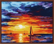 PAINTBOY DIY Painting By Numbers Canvas Oil Paint Of Seascape Of Sunset Painting For Living Room 4110cm