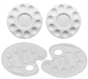 SOOKOO 4 Pieces Plastic Paint Tray Palettes, Art Palettes for Painting, 2 Styles, White