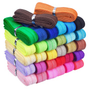 Mudder 32 Yards Ribbon Elastic Foldover Elastics Stretch Hair Ties Headbands for Baby Girls Hair Bow, 32 Colours, 1 Yard Each One