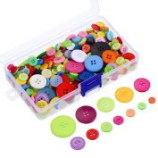 Outus 300 Pieces Assorted Colours Resin Buttons 2 and 4 Holes Round Craft Buttons with Plastic Storage Box for Sewing DIY Crafts