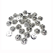 ThreeBulls 30 Pcs Silver Comfort Fit Butterfly Clutch Metal Pin Backs Replacement