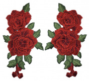 C-Pioneer 2pc DIY Water-soluble Rose Flower Embroidery Applique Patches Collar Flowers Sew on Clothing Accessories