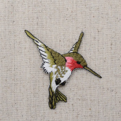 Large - Hummingbird - Ruby Red Throat - Facing RIGHT - Iron on Embroidered Applique Patch