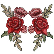 OPount 2 Pieces Embroidery Rose Flower Sew On Patch Badge Embroidered Floral Collar Bust Dress Bag Applique