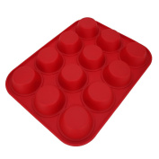 Sohapy Red 12 Cup Silicone Muffin Pan and Cupcake Pan Maker, BPA Free, Heat Resistant,Non-Stick Bakeware, Microwave Safe
