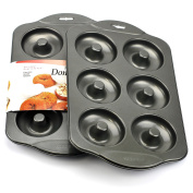 Donut Pan, Nonstick Mini Donut Hole Pan Stainless Steel with 6 Count - Silver Grey (Pack of 2)