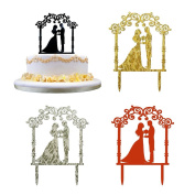 Acrylic Cake Cards,Efaster(TM) Romantic Wedding Cake Topper Insert Card Love Groom And Bride Acrylic Cake Decoration