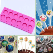 SK 12-Capacity Lollipop Silicone Mould with 20Pcs/Pack Sucker Sticks for Baking Random Colour