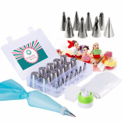 Russian Piping Tips Set 32 Pcs-The only complete Cake Decorating set(10 Russian tips X8 Doll Dress Tips X10 Disposable Bags X1 Reusable Icing Bag X2 Coupler-TRI colour,single)With bonus storage box
