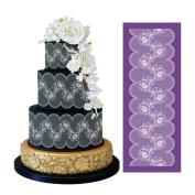 ART Kitchenware 49cm ×19cm Large Retro Lace Floral Mesh Stencil Rose Flower Cake Stencil Wedding Cake Side Stencils Template Mould Cake Decorating Bakery Tool MST-01 Purple
