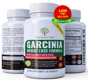Nutrients Hub 100% Pure Garcinia Cambogia 1400mgs - 95% HCA Extract 60 Veggie Caps, Weight Loss supplements for Women and Men - All Natural Appetite suppressant - Healthy Weight Loss pills that works